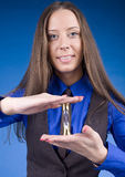 Portrait of business woman with sand clock Stock Photos