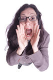 Portrait of a business woman screaming Royalty Free Stock Photo