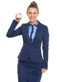 Portrait of business woman showing business card Stock Images