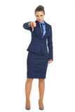 Portrait of business woman showing thumbs down Royalty Free Stock Photography