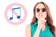Portrait of a business woman with silence sign Royalty Free Stock Photography
