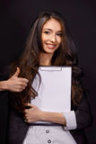 Portrait of  business woman with smiles. Portrait of  business woman with paper folder Royalty Free Stock Photo