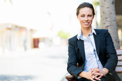 Portrait of business woman smiling outdoor Stock Photography