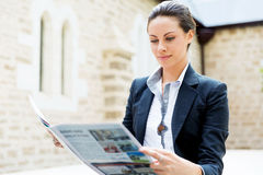 Portrait of business woman smiling outdoor Stock Photo