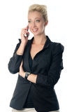 Portrait of business woman speaking on mo Royalty Free Stock Photos