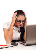 Portrait of business woman suffering from headache Royalty Free Stock Images