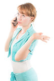 Portrait of business woman talking on mobile phone Royalty Free Stock Images