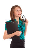 Portrait of business woman thinking Stock Images