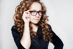Portrait of business woman wearing glasses Stock Photos