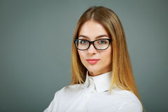 Portrait of Business Woman Wearing Glasses Stock Photography