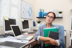 Business woman at work royalty free stock photos