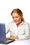Portrait of a business woman working on a laptop Royalty Free Stock Image