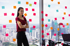 Portrait Business Woman Writing Sticky Notes Smiling Happy Royalty Free Stock Photos
