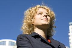 Portrait of business women. On citys landscape royalty free stock photo