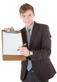 Portrait of businessman. Portrait friendly business man with a folder Royalty Free Stock Photography