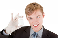 Portrait of businessman. Portrait friendly business man with a plastic white bottle Royalty Free Stock Photography