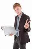 Portrait of businessman. Portrait friendly business man with a documents Royalty Free Stock Photo