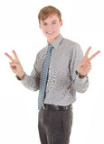 Portrait of businessman. Portrait friendly business man with a sign of victory Stock Images