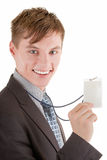 Portrait of businessman. Portrait friendly business man with a badge Royalty Free Stock Photo