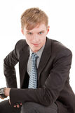 Portrait of businessman. Portrait friendly business man on a white background Stock Photos