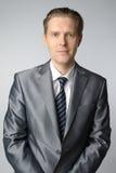 Portrait of businessman. Portrait of middle age businessman in austere suit Stock Image