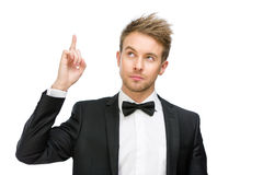 Portrait of businessman attention gesturing Royalty Free Stock Image