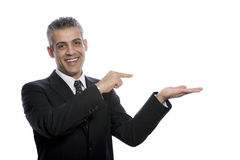 Portrait of businessman businessman pointing at something Royalty Free Stock Image