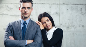 Portrait businessman and businesswoman together Stock Photos