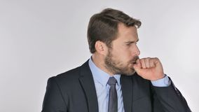 Portrait of businessman coughing, throat infection stock video footage