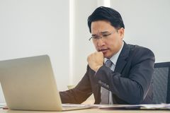 Portrait Businessman depressed by working in office. Strain, bus stock images