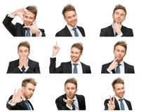 Portrait of businessman with different emotions stock image