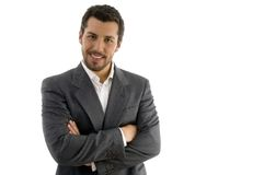 Portrait of businessman with folded hands. On an isolated background Royalty Free Stock Image