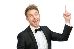 Portrait of businessman forefinger gesturing Royalty Free Stock Photography
