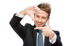 Portrait of businessman frame gesturing Royalty Free Stock Photos