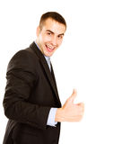 Portrait of a businessman giving the thumbs-up sig Royalty Free Stock Photo