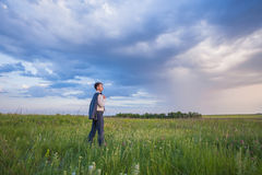 Portrait of businessman on a green meadow Stock Photography