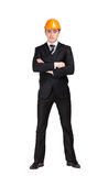 Portrait of businessman in hard hat Stock Images