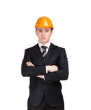 Portrait of businessman in helmet Stock Photo