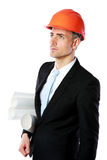 Portrait of a businessman in helmet Royalty Free Stock Photography