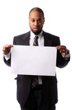 Portrait of businessman Holding Blank Sign Stock Photos
