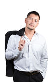 Portrait of a businessman holding his jacket over shoulder Stock Image