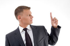 Portrait of businessman looking finger Stock Photo