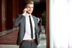 Portrait of a businessman looking at the window. Stock Photography