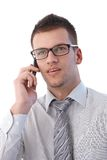 Portrait of businessman on mobile Royalty Free Stock Photography