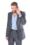 Portrait businessman with mobile phone Stock Images