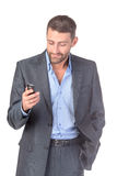 Portrait businessman with mobile phone Royalty Free Stock Photos