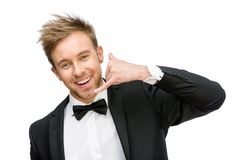 Portrait of businessman phone gesturing Stock Photography