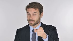 Portrait of Businessman Pointing at Camera stock video footage