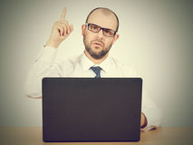 Portrait of businessman pointing finger up Royalty Free Stock Photography
