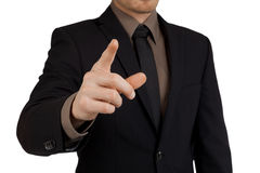 Portrait of businessman pointing finger at viewer Stock Photos
